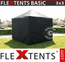 Folding canopy Basic, 3x3 m Black, incl. 4 sidewalls