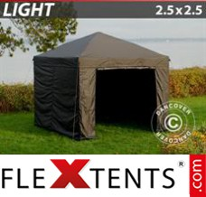 Folding canopy Light 2.5x2.5 m Black, incl. 4 sidewalls