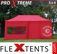 Folding canopy Xtreme 3x6 m Red, incl. 6 sidewalls