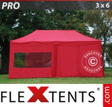 Folding canopy PRO 3x6 m Red, incl. 6 sidewalls