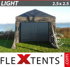Folding canopy Light 2.5x2.5 m Grey, incl. 4 sidewalls