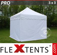 "Folding canopy PRO ""Wave"" 3x3 m White, incl. 4 sidewalls"