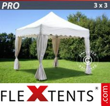 "Folding canopy PRO ""Wave"" 3x3 m White, inkl. 4 decorative curtains"