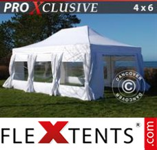 Folding canopy PRO 4x6 m White, incl. 8 sidewalls & decorative...