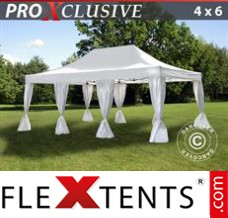 Folding canopy PRO 4x6 m White, incl. 8 decorative curtains