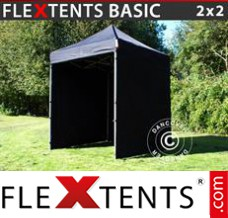 Folding canopy Basic, 2x2 m Black, incl. 4 sidewalls